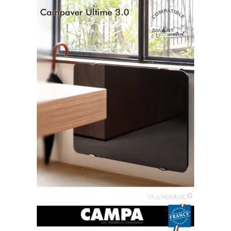 Radiateur électrique Campa - CAMPAVER Ultime 3.0 Horizontal Noir Astrakan 2000W - CMUD20HSEPB