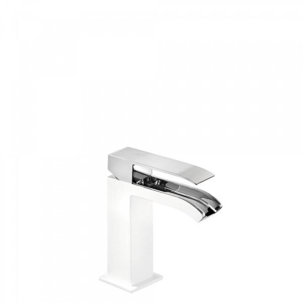 Mitigeur Lavabo Robinet Cascade Bec Ouvert Tres 00611001bld Blanc