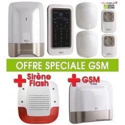 Pack Alarme Radio GSM TYXAL PLUS  avec sirène extérieure et transmetteur telephonique GSM Delta Dore - 6410176 + 6414117