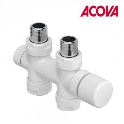 Kit O BLANC robinetterie thermostatisable en H droit réversible monotube / bitube chromé - ACOVA 991581