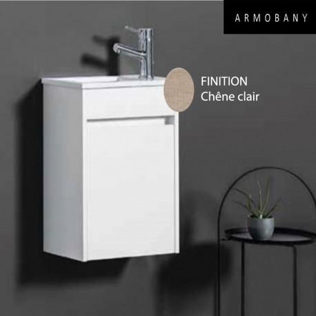Ensemble meuble lave mains et vasque ch ne clair armobany mi4031f - Meuble vasque lave main ...