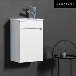 Ensemble meuble lave-mains et vasque Blanc Brillant - ARMOBANY MI4018F