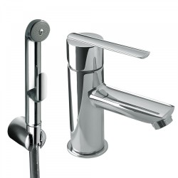 Mitigeur lavabo pour bidet/wc Douchette hygiénique à poussoir et flexible satin - TRES 181113 Mitigeur lavabo pour bidet/wc Douc