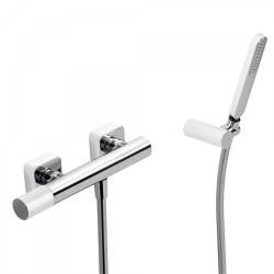 Mitigeur douche Douchette à main anticalcaire avec support orientable et flexible. - TRES 20016701BL Mitigeur douche Douchette à