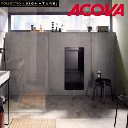 Sèche-serviette ACOVA Zenia electrique soufflant 1225W (225W + 1000W ) Noir ouverture droite AZNRB-100-045