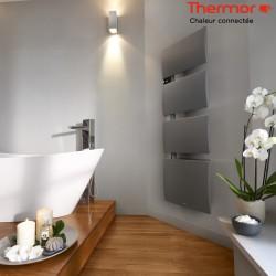 Sèche-serviettes électrique Thermor SYMPHONIK gris roche- 1750W (700 + 1000) mât à gauche- 492613