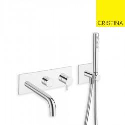 Façade externe bain douche mural chromé 3 sorties sans mécanisme TRIVERDE - CRISTINA ONDYNA TV11051