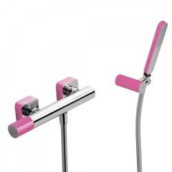 Mitigeur douche Douchette à main anticalcaire avec support orientable et flexible. - TRES 20016701FU Mitigeur douche Douchette à