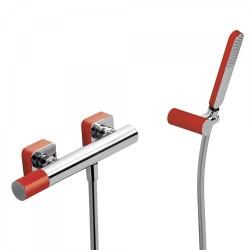 Mitigeur douche Douchette à main anticalcaire avec support orientable et flexible. - TRES 20016701RO Mitigeur douche Douchette à