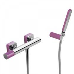 Mitigeur douche Douchette à main anticalcaire avec support orientable et flexible. - TRES 20016701VI Mitigeur douche Douchette à