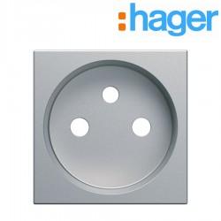 Enjoliveur prise de courant 2 pôles titane GALLERY HAGER WXD100T