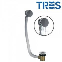 Système de vidage et de remplissage de baignoire, avec bonde ronde CASCADE et trop‑plein Ø70mm CLICK‑CLACK - TRES 13453430