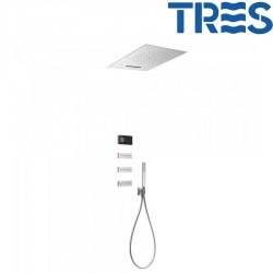 Kit de douche thermostatique électronique et encastré SHOWER TECHNOLOGY Chromé - TRES 09288404