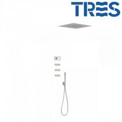 Kit de douche thermostatique électronique et encastré SHOWERTECHNOLOGY Acier  - TRES 09286312AC