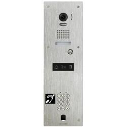 Platine vidéo inox encastrée 1BP avec clavier 100 codes, perçage VIGIK et boucle magnétique à encombre KJPLVBMA - Aiphone 130352