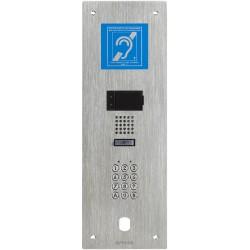 Platine audio encastrée 1BP, IP, inox, clavier 100 codes, boucle magnétique et perçage VIGIK IXBAFCVBM - Aiphone 200920 Platine