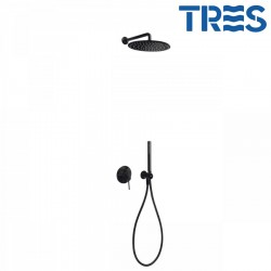 Kit de douche encastré avec fermeture et régulation du débit Noir STUDY COLORS  - TRES 26298091TNE