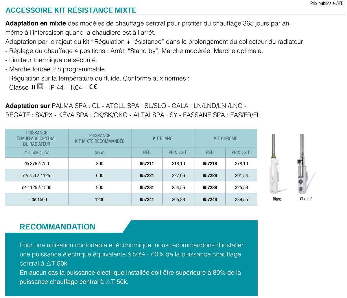 Kit Dbm Resistance Mixte Blanc 600w Acova 857221