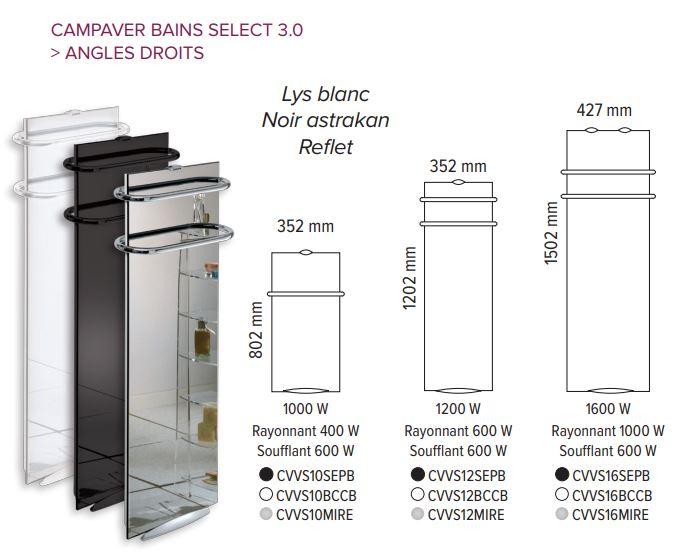 Dimensions des sèches-serviettes CAMPAVER BAINS SELECT 3.0