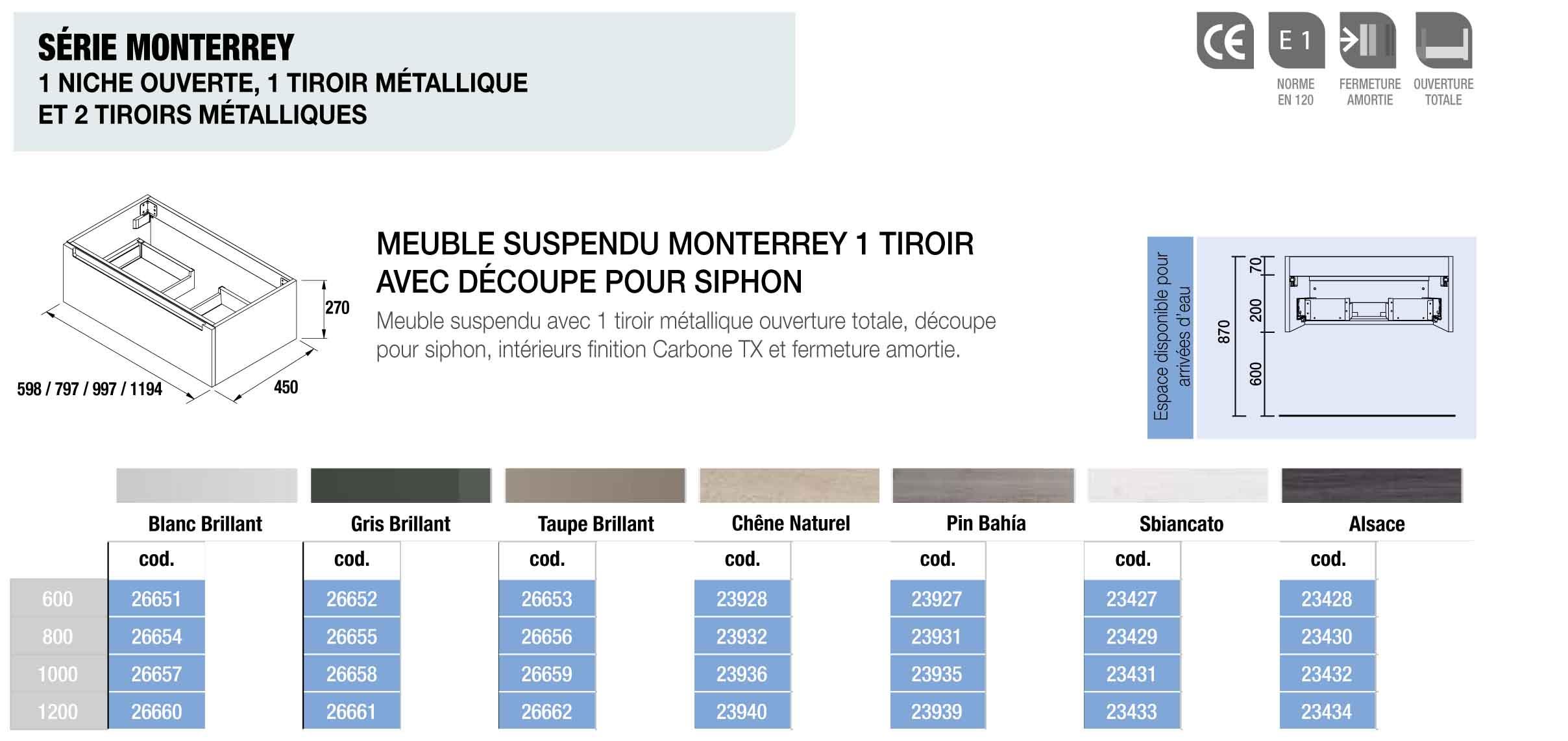 Meuble Salle De Bain Suspendu Monterrey 800 Pin Bahia 1 Tiroir
